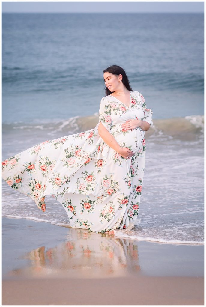 floral maternity dress, Sarah and Tommy, beach Maternity Session, Sami Roy Photography